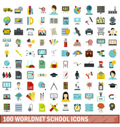 100 worldnet school icons set flat style vector image