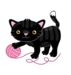 Cute cartoon black cat with claw vector