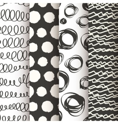 Set of 4 black and white doodle seamless patterns vector