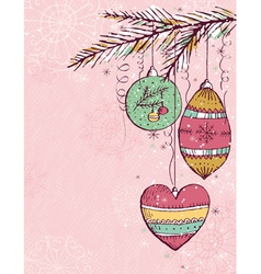 Pink christmas background with christmas balls vector