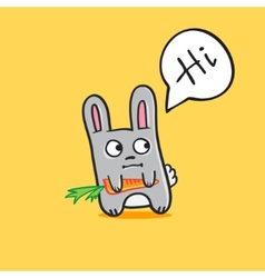 Funny cartoon bunny with carrot vector