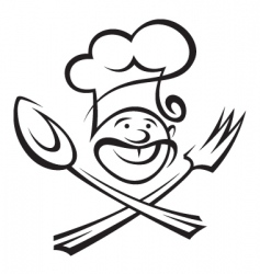 Chef with spoon and fork vector