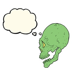 Spooky skull with thought bubble vector