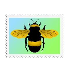 Stamp with image of bumblebee vector