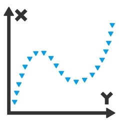 Dotted function graph flat symbol vector