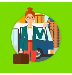 Woman travelling by bus vector