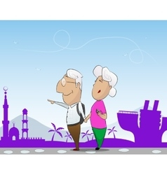 Elderly couple travel in cruise together vector