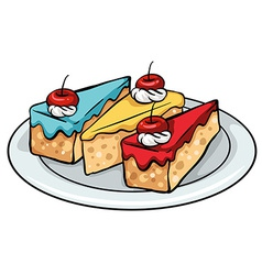 A plate of sellable cakes vector
