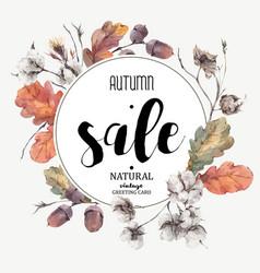 Autumn vintage cotton flower sale card vector