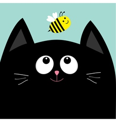 Black cat head looking at honey bee insect cute vector