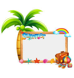 border template with summer theme vector image