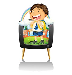 Boy in school uniform on TV vector image vector image