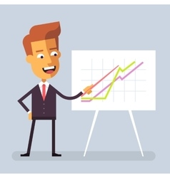 Businessman is giving presentation Flat vector image vector image