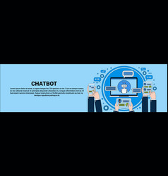 Chat bot concept hand holding laptop tablet and vector