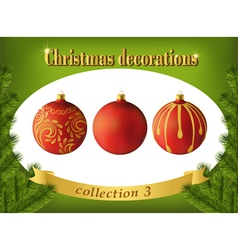 Christmas decorations Collection of red glass vector image vector image