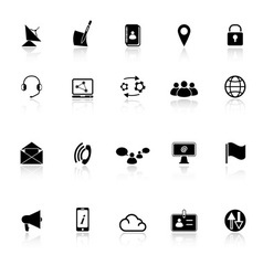 Communication icons with reflect on white vector image