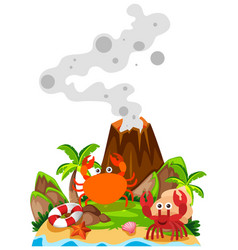 Crabs and volcano on island vector