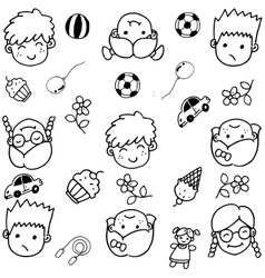 Doodle set of objects for kids vector image