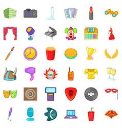 Entertainment icons set cartoon style vector