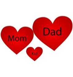 Family of three hearts vector image