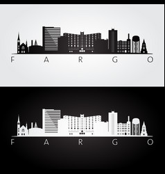 Fargo usa skyline and landmarks silhouette vector