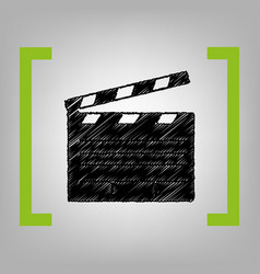 film clap board cinema sign black vector image