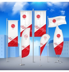 Flag banners collection color sky background vector