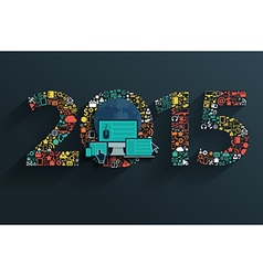 Flat concept set applications new year 2015 sign vector image