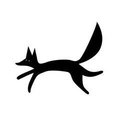 fox silhouette funny animal vector image