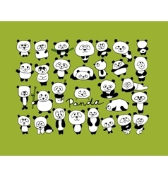 Funny pandas collection sketch for your design vector