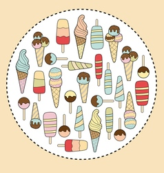 ice cream in circle vector image