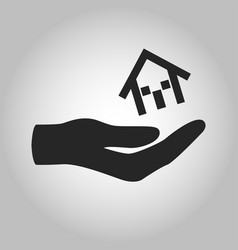 icon hand holding house isolated vector image