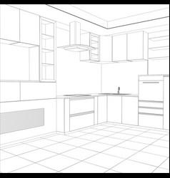 kitchen sketch interior vector image vector image