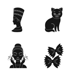 Nefertiti cat and other web icon in black style vector