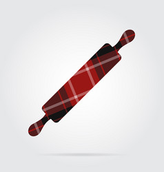 Red black tartan isolated icon - rolling pin vector