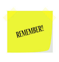Remember note on a green note paper vector