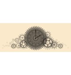 Retro clock pale beige vector