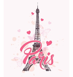 Romantic background with eiffel tower vector
