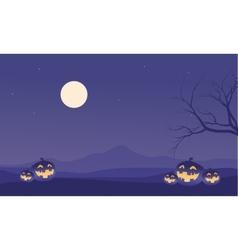 Scenery Halloween pumpkins and moon vector image vector image