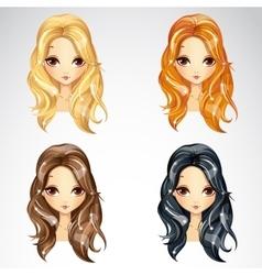 Set of beauty babetta hair vector
