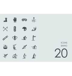 Set of skiing icons vector image