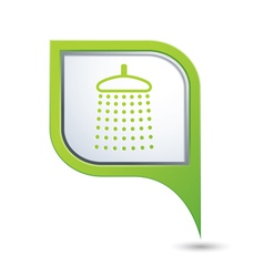 Shower icon on green map pointer vector