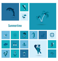 summer and beach simple flat icons vector image vector image