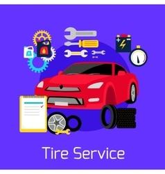 Tire service automobile flat concept vector