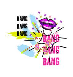 tshirt pop art neon colors lips splash design vector image vector image