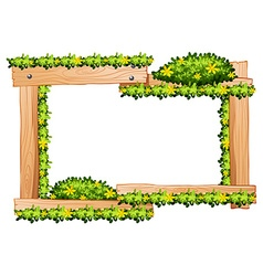 Wooden frame with yellow flowers around the border vector image vector image