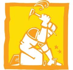 Workman with hammer vector