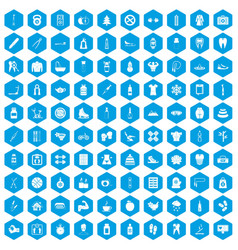 100 fit body icons set blue vector