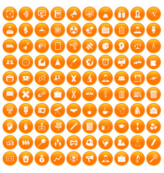 100 seminar icons set orange vector