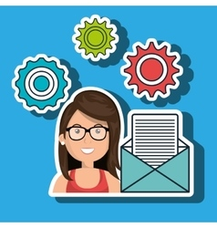 Woman gears icon vector